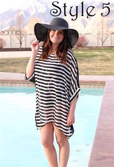 Do not let summer pass you by without treating yourself to one of our adorable new Swimming Suit cover-ups!  Easy to wear and easy to love.  Choose from 7 different styles.  All styles are free size and will fit most bo