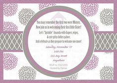 Personalized Purple Silver Gray Grey Dahlia Baby Shower Invite Invitation