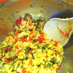 This is what I made for dinner tonight. I call it Victory Rice, because I was actually successful in getting my toddler to eat fresh veggies! It's sautéed garlic, onion, asparagus, bell pepper, & zucchini. I diced it all very small, flavored it with adobo & basil, & then mixed it with brown rice. It tastes much better than it looks! :)
