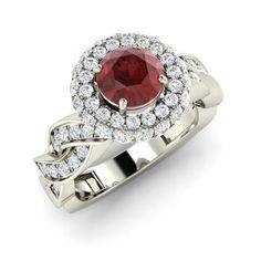 Round Garnet Ring in 14k White Gold with VS Diamond