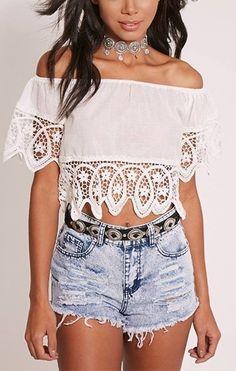 5dbe9a0babffa Blusa Ciganinha Branca com Renda - Compre Online