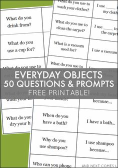 Encourage conversation and build language with this free printable set of questions and prompts about everyday objects - great for kids with autism and hyperlexia from And Next Comes L Speech Therapy Activities, Language Activities, Speech Language Pathology, Speech And Language, Receptive Language, English, Social Skills, Life Skills, Everyday Objects