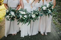 Bree and her bridesmaids with classic white and green. www.jademcintoshflowers.com.au www.littleblackbowphotography.com.au Bridesmaid Bouquet, Wedding Bouquets, Bridesmaids, Bridesmaid Dresses, Wedding Dresses, Spring Bouquet, Classic White, Wedding Season, Favorite Color