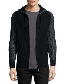 Zip-Front Hooded Cashmere Sweater, Black, Size: MEDIUM - Helmut Lang
