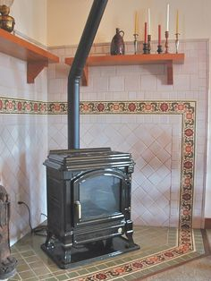 Arts & Crafts Wood Stove Surround: Decorative Ceramic Tile Persian Revival Border