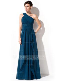 A-Line/Princess One-Shoulder Floor-Length Chiffon Evening Dress With Cascading Ruffles (017051642) - JJsHouse