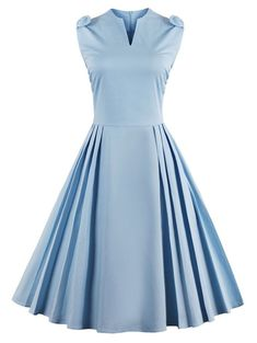 V Neck Bowknot Pin Up Fit and Flare Work Dress - WINDSOR BLUE M