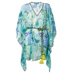 Mint Pineapple Paisley Print Silk Kaftan ($515) ❤ liked on Polyvore featuring tops, tunics, silk kaftan, paisley tunic, caftan tunic, green slip and green silk top