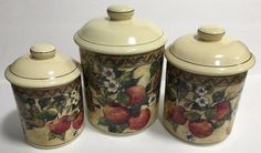 Certified International Susan Winget Fruits Flower Multicolor Canisters Set of 3 | eBay