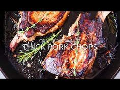 How to cook pork chops in a cast iron skillet. Quick and easy. Serve in their own olive oil, butter & herbs infused sauce or drizzle with a creamy sauce. Iron Skillet Recipes, Cast Iron Skillet, Cast Iron Cooking, Pork Chops Cast Iron, Skillet Pork Chops, Smoked Pork Chops, Juicy Pork Chops, Brine Recipe, Chops Recipe
