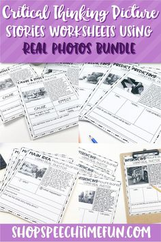 Looking for ways to work on predicting, inferencing, main idea, cause effect, and more without a ton of prep? These worksheets are no prep and perfect for older speech students. Real photos used so it doesn't look to babyish. graphic organizers on each page helps students grasp these tricky skills.