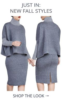 This chic, slightly retro high necked sweater and matching pencil skirt are perfect for day to night wear thanks to the elegant design and sexy skirt slit. Work Fashion, Cute Fashion, Fashion Looks, Fashion Outfits, Womens Fashion, Fashion Trends, Trendy Fashion, Winter Outfits, Casual Outfits