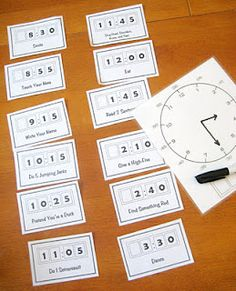 Read digital times, put times in order to make a daily schedule, draw time on analog clock, act out acitivity on time card