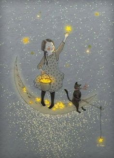 Find images and videos about cat, stars and moon on We Heart It - the app to get lost in what you love. Art And Illustration, Creative Illustration, Landscape Illustration, Book Illustrations, Art Fantaisiste, Inspiration Art, Moon Art, Whimsical Art, Stars And Moon