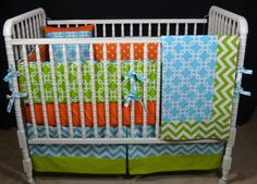 Custom Five Piece Crib Bedding Set-Includes Crib bumper, skirt and sheet-save 10% today with coupon code sale10