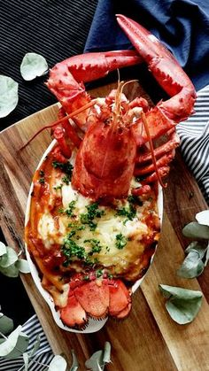 Lobster Casserole Gratin - elevate cheesy baked pasta with lobster and a ridiculously flavorful sauce. Lobster Dishes, Lobster Recipes, Seafood Dishes, Fish Recipes, Seafood Recipes, Cooking Recipes, Seafood Dip, Seafood Platter, Shrimp And Lobster