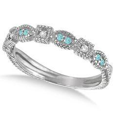 0.15ct Womens Aquamarine & Diamond Vintage Stackable Ring 14k White Gold on Etsy