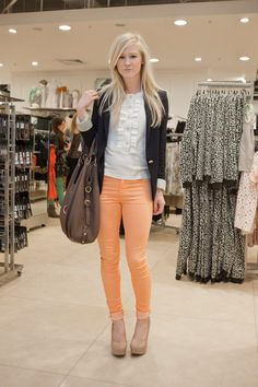 colored pants with the blazer!