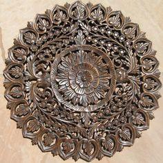 Two ft teak wood panel Pottery Sculpture, Wood Sculpture, Thai Decor, Iron Wall Decor, Wood Ornaments, Teak Wood, Mandala Design, Wood Paneling, Wood Art
