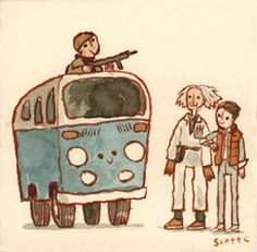 The Libyans vs Marty McFly and Doctor Emmett Brown Scott Campbell, Funny Paintings, Bttf, Marty Mcfly, Cinema, Volkswagen, Great Movies, 80s Movies, Cartoon Movies