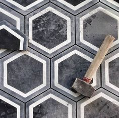 Black concrete hexagonal tiles