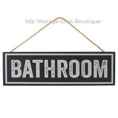 Bathroom Sign Plaque Vintage Retro Style