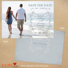 Beach Save the Date Card  Valentine's Day Card by alacartestudio, $7.50