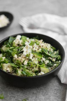 Cucumber Quinoa Salad with Spinach and Feta | @naturallyella