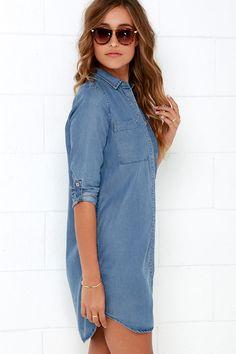 Shirt and Sweet Blue Chambray Shirt Dress 4