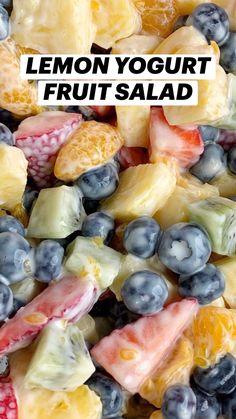 Dessert Salads, Fruit Salad Recipes, Yogurt Recipes, Fruit Dessert, Lunch Snacks, Healthy Snacks, Healthy Eating, Healthy Recipes, Lunches