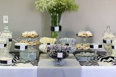 Black and white dessert table #blackwhite #desserttable
