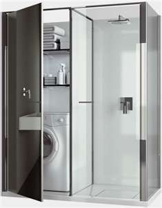 shower with a combo washer/dryer enclosed beside it
