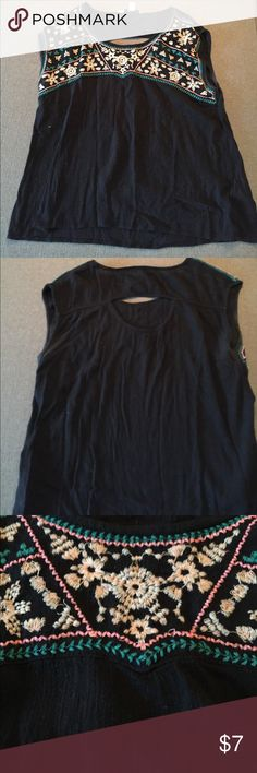 American Eagle Tank Embroidered American Eagle tank with peek-a-boo back American Eagle Outfitters Tops Tank Tops