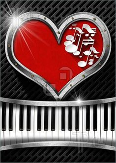 Illustration of Metal porthole heart shape with red velvet and musical notes, on dark grid with piano keyboard
