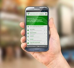 Mobile App: Saad Specialist Hospital on Behance Mobile App Design, Mobile Application, Behance, Samsung, Phone, Telephone, Sam Son, Phones, Mobile Phones