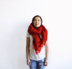 Red Herringbone Blanket Shawl