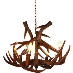 4 Lights Rustic Faux Antler Chandelier ($275) ❤ liked on Polyvore featuring home, lighting, ceiling lights, faux chandelier, elk antler chandelier, rustic hanging lamps, antler lighting and fake antler chandelier