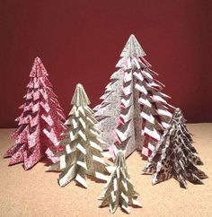 Petite Patterned Paper Christmas Trees | These DIY tabletop trees are fun paper crafts for Christmas.
