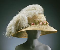 Hat Made Of Straw With Ostrich Feathers, Silk Lace And Artificial Flowers, Designed By Guillard Soeurs - Paris, France   c.1910   -   The Philadelphia Museum of Art