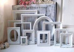 White Vintage Frame Set Set of 12 Bright by WillowsEndCottage