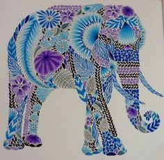 Tropical World by Millie Marotta – Colored by Kelli - Elephant