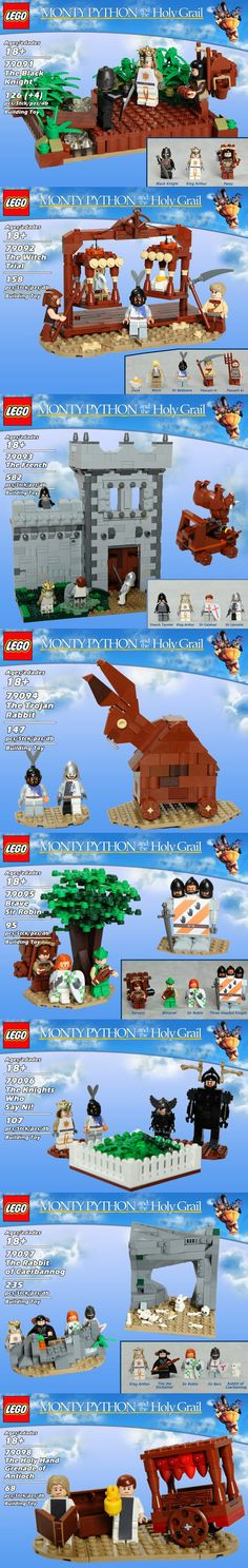 Monty Python and the Holy Grail In a perfect world TLG would release a Monty Python and the Holy Grail product line with the following sets: • 79091: The Black Knight • 79092: The Witch Trial • 79093: The French • 79094: The Trojan Rabbit • 79095: Brave Sir Robin • 79096: The Knights Who Say Ni • 79097: The Rabbit of Caerbannog • 79098: The Holy Hand Grenade of Antioch