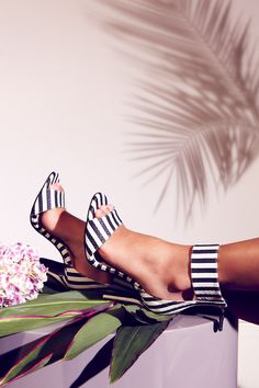 """Chloe Jade Green: """"I love the striped Malibu sandal. They're so comfortable and really tap into the monochrome trends that are so big this season."""""""