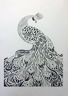 Peacock, handmade papercut, black and white Paper Cutting Patterns, Paper Cutting Templates, Panda Art, Peacock Art, Paper Artwork, Papercutting, Lightbox, Abstract Wall Art, Animal Paintings