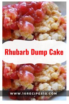 What makes this Rhubarb Dump Cake better than the old standby? A fresh, juicy fi. What makes this Rhubarb Dump Cake better than the old standby? A fresh, juicy filling that celebrates Easy Rhubarb Recipes, Strawberry Rhubarb Recipes, Easy Baking Recipes, Cooking Recipes, Cheap Recipes, Ww Recipes, Rhubarb Dump Cakes, Dump Cake Recipes, Frosting Recipes