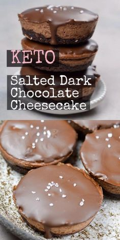 This incredible salted dark chocolate cheesecake has three rich chocolate layers that make the perfect keto dessert under 3 net carbs each! keto lowcarb cheesecake the best no bake chocolate cheesecake Low Carb Sweets, Low Carb Desserts, Low Carb Recipes, Keto Cake, Keto Cheesecake, Chocolate Cheesecake, Keto Dessert Easy, Dessert Recipes, Dark Chocolate Recipes
