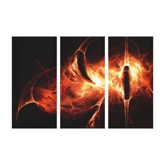 """""""Spirit Of The Flame"""" triptych canvas art print  Original digital art by Peter Chassé Great 3-panel (Triptych) wrapped canvas print for your home, office, family rooms, waiting rooms, restaurant walls and many other locations."""