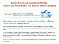 Google Update: Structured Data Markup To Surface Business Info From Your Website in Google Search