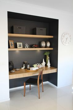 Desk Nook, Office Nook, Home Office Space, Small Office, Home Office Desks, Bookshelf Desk, Corner Desk, Apartment Bookshelves, Study Corner