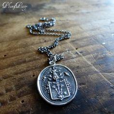 Angel and Fleur De Lis Wax Seal Necklace by PlumAndPoseyInc, $75.00